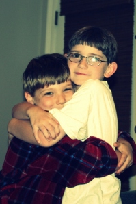 A rare moment of brotherly love.  My boys--Philip and John Edward